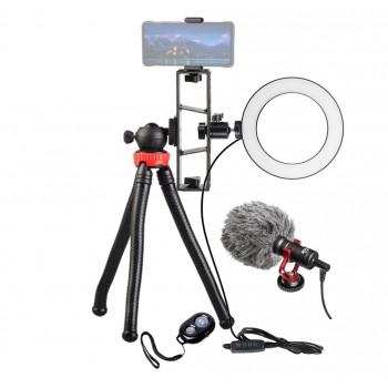 Набір блогера на штативі з кільцевої лампою і спрямованим мікрофоном