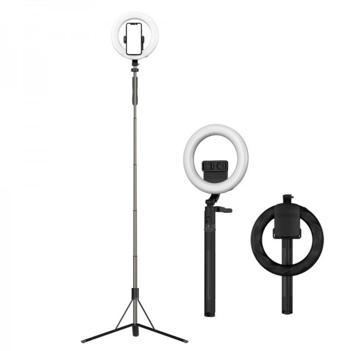 Кольцевая лампа 21см складная с моноподом-штативом 160см ACprof L06