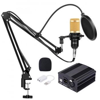 Мікрофон BM 800 з фантомним живленням та підставкою