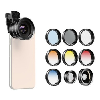 Ширококутний макрооб'єктив з фільтрами для телефону 9в1 Apexel APL-0.45X37UV-7G