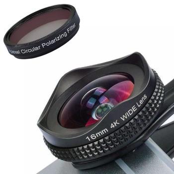 Ширококутний об'єктив для телефону з CPL фільтром Apexel APL-16MMH