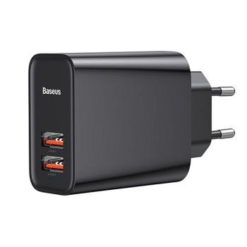 Мережевий зарядний пристрій USB Baseus Dual QC3.0 CCFS-E01
