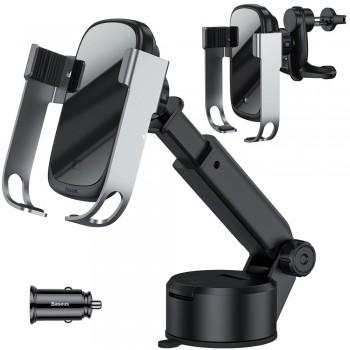 Тримач телефону автоматичний з бездротовою зарядкою в авто на присоску або повітропровід Baseus WXHW01-B0S