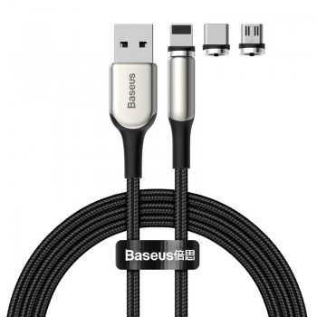 Кабель магнітний Lightning / USB Type-C / microUSB 2А 2м Baseus Zinc TZCAXC-G01