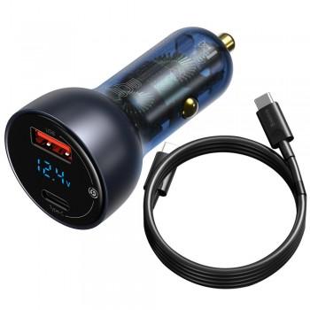 Адаптер в прикурювач 65Вт з швидкою зарядкою USB Type-C Baseus TZCCKX-0G