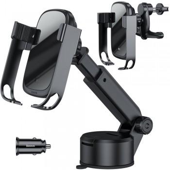 Держатель телефона автоматический с беспроводной зарядкой в авто на присоске или воздуховод Baseus WXHW01-B01
