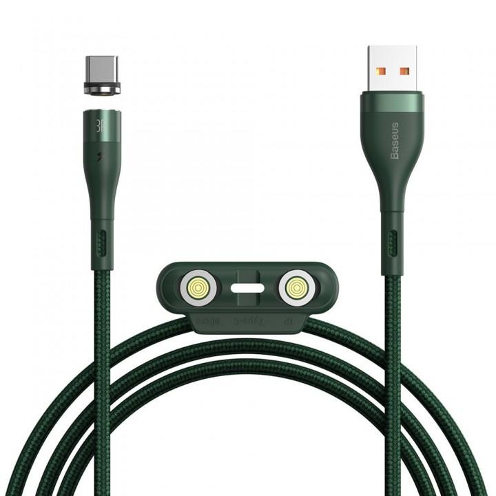 Магнитный кабель Type-C Micro Lightning 3А 1м 480Мб/с зеленый Baseus CA1T3-A06