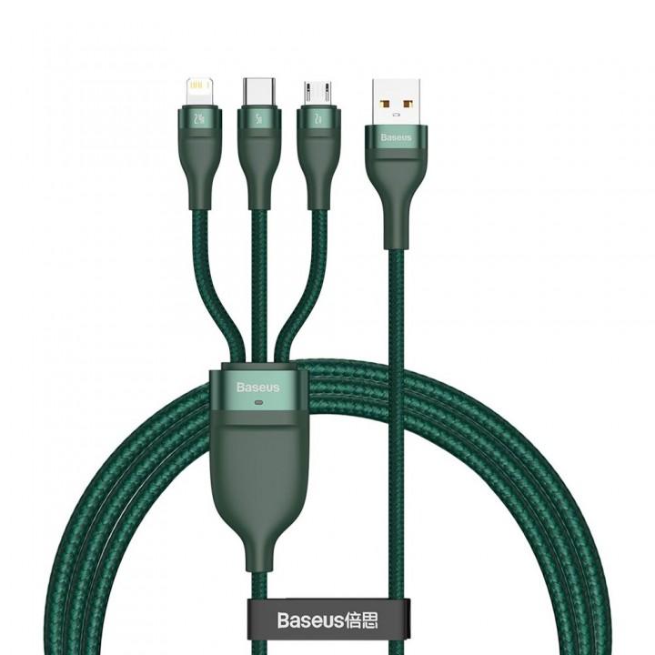 Кабель для телефона Type-C Micro Lightning 1.2м 5А 66Вт 480Мб/с зеленый Baseus CA1T3-06