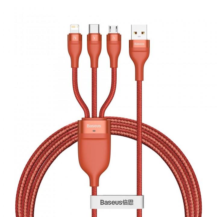 Кабель для телефона Type-C Micro Lightning 1.2м 5А 66Вт 480Мб/с красный Baseus CA1T3-07