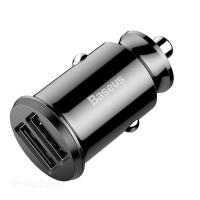 Адаптер зарядки в прикуриватель BASEUS Grain Car Charger Black (2 USB)