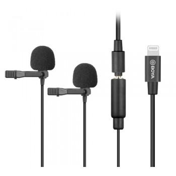 Подвійний петличний мікрофон для iPhone Boya BY-M2D