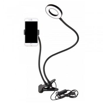 Кільцева лампа з тримачем для телефону на прищіпці