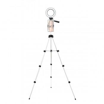 Кольцевая лампа 12см на сером штативе 102см