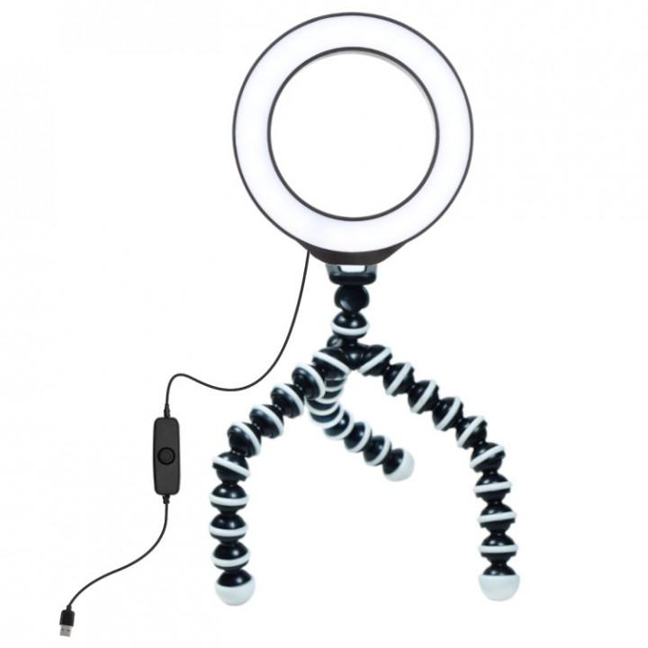 Кольцевая лампа настольная для конференции на штативе осьминог Puluz PU421BТ