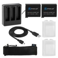 Зарядка + 2 аккумулятора Puluz для GoPro Hero4 Black/Silver