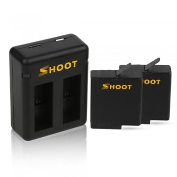Аккумуляторы + зарядка Shoot для GoPro Hero 5 / 6 / 7 (XTGP374)