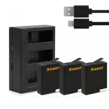 Аккумуляторы + зарядка Shoot для GoPro Hero 5 / 6 / 7 (XTGP374B)