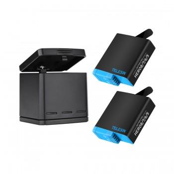 Зарядка GoPro 8 с двумя аккумуляторами Telesin GP-BNC-802
