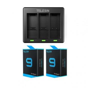 Зарядка + 2 акумулятора GoPro 10 / 9 Telesin GP-BTR-903