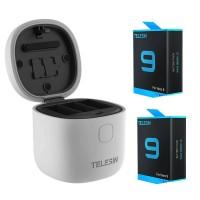 Зарядка с двумя аккумуляторами GoPro 9 IP54 картридер Telesin GP-BTR-905-GY