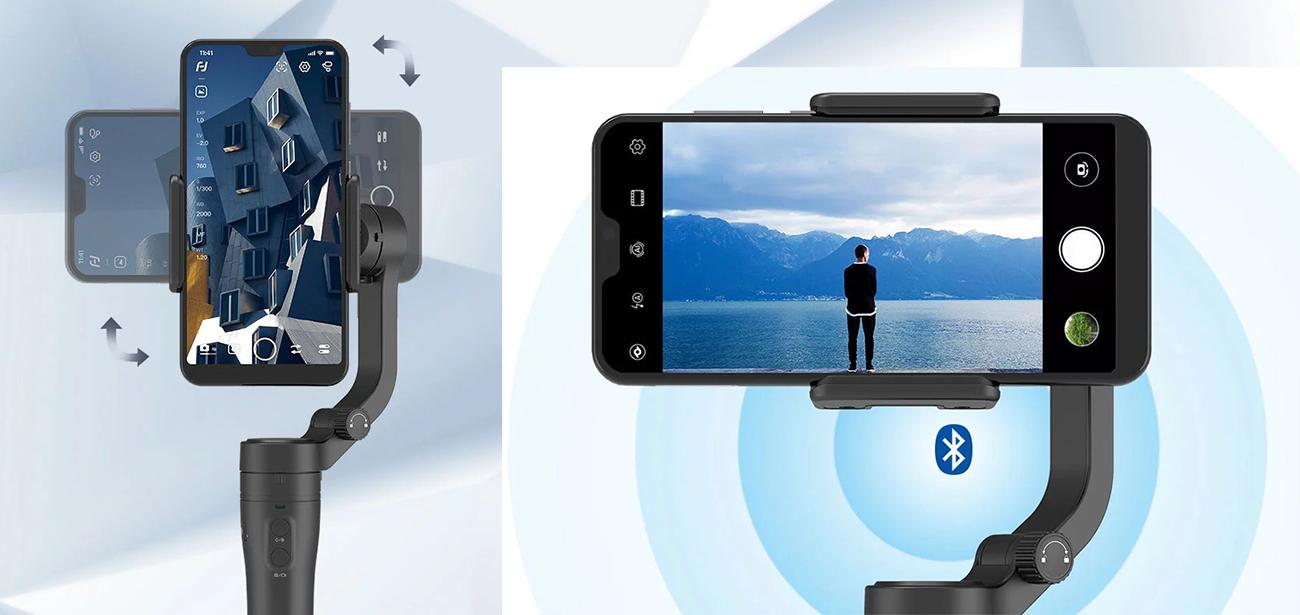 фото горизонтального и вертикального режимов стабилизатора для телефона VLOG Pocket