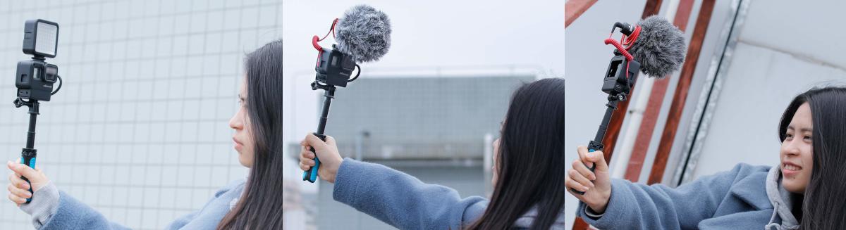 фото применения Ulanzi V2 с адаптером для микрофона AAMIC-001