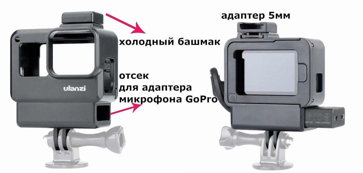 фото расположения адаптера для микрофона AAMIC-001 в рамке Ulanzi V2