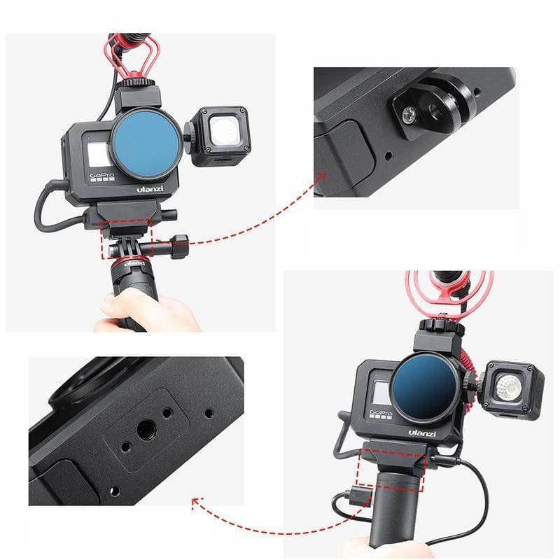 изображение крепления 1/4 дюйма и GoPro на влог рамке GoPro 8