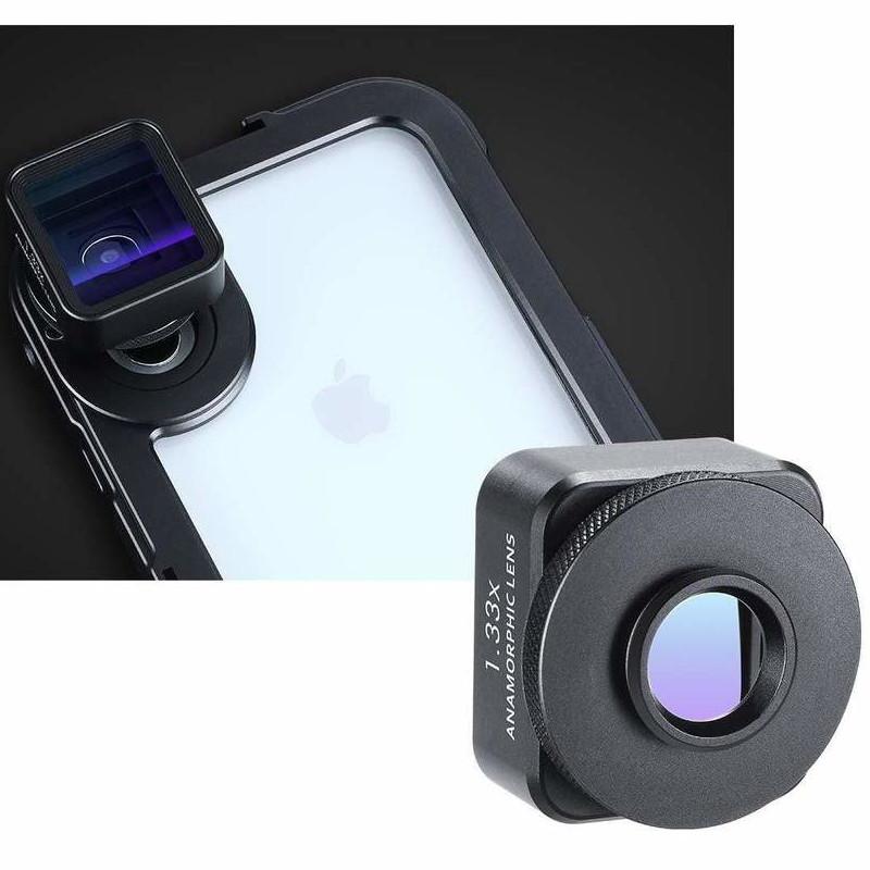фото крепления анаморфного объектива Ulanzi 1.33X к телефону