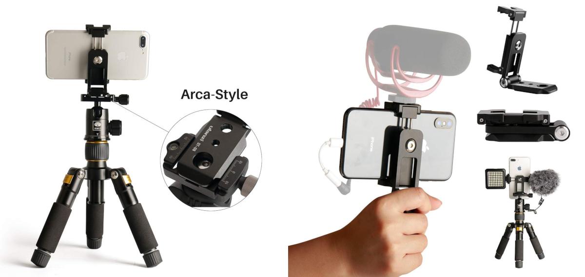фото совместимости Ulanzi ST-05 и Arca-Swiss держателя для телефона и оборудования