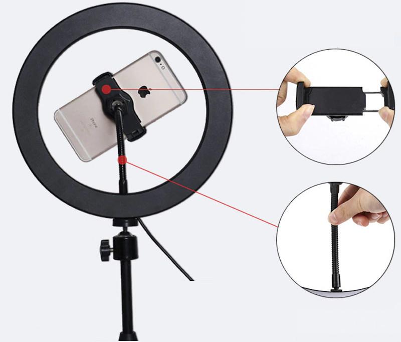 фото держателя телефона на кольцевой лампе