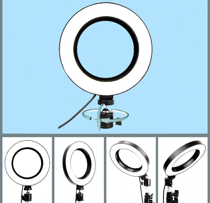 фото регулировки положения кольцевой лампы для телефона