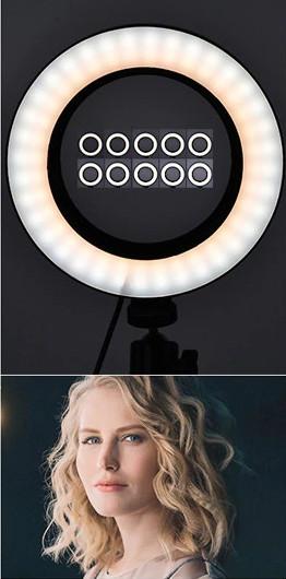 фото смешана температура света на штативе для телефона с лампой