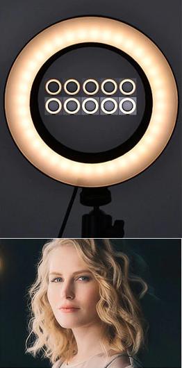 фото теплая температура света на штативе для телефона с лампой