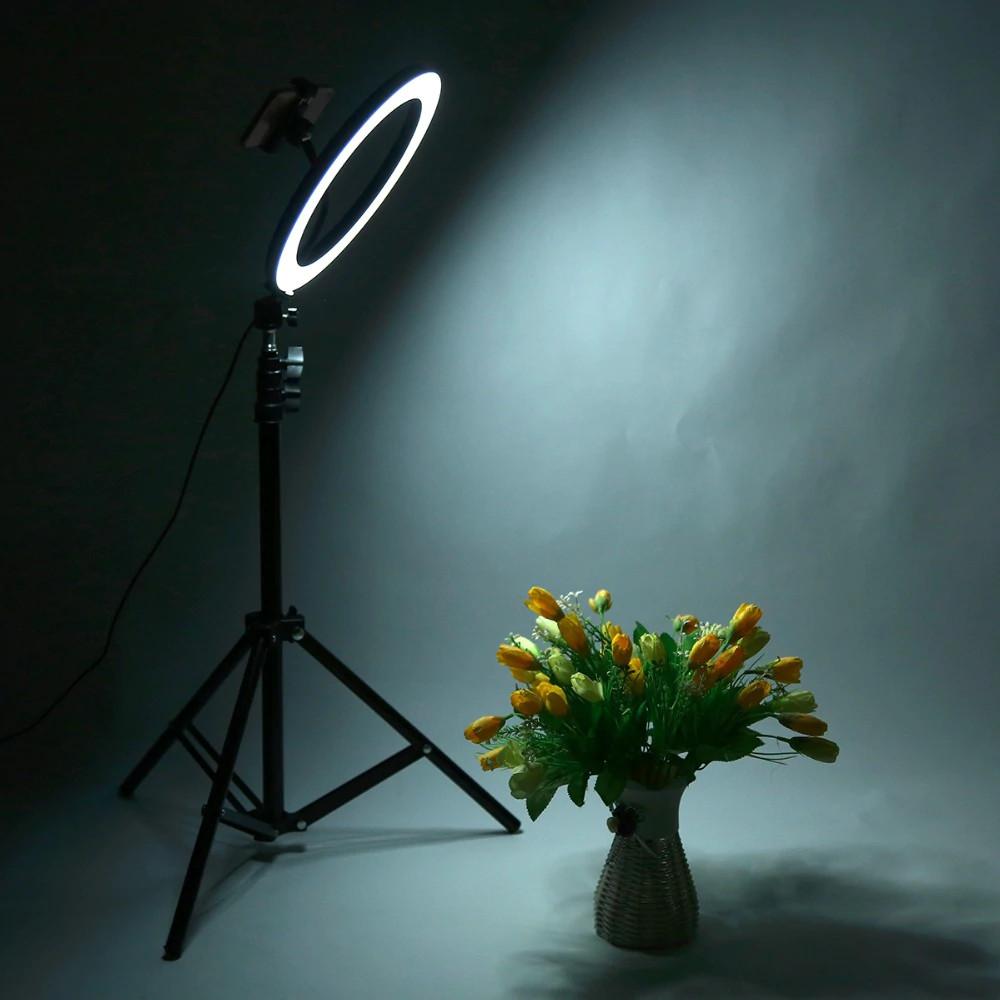 фото холодной температуры света на штативе со светодиодным кольцом 36 см