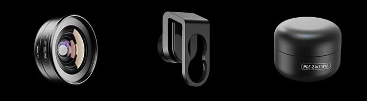изображение комплектации широкоугольного макрообъектива для телефона