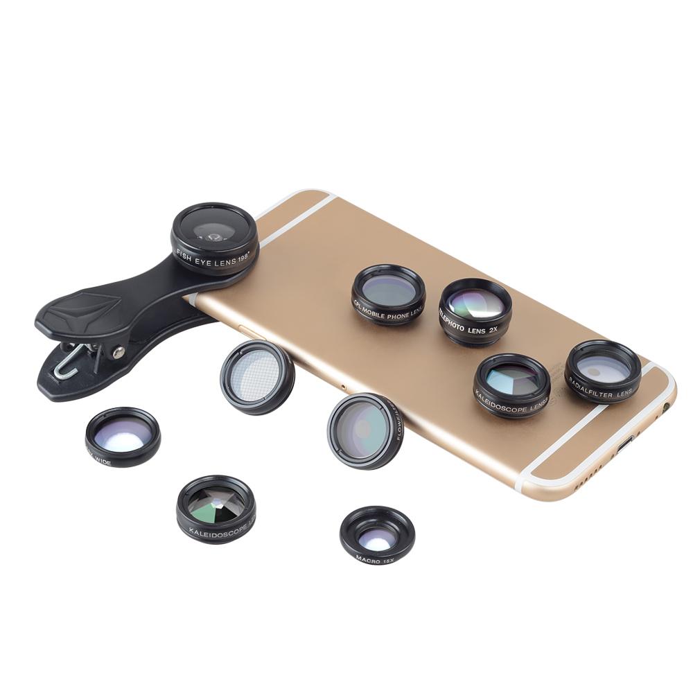 фото большого набора фильтров и объективов для телефона
