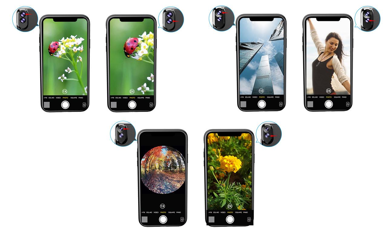 фото набора объективов с чехлом Iphone XS Max