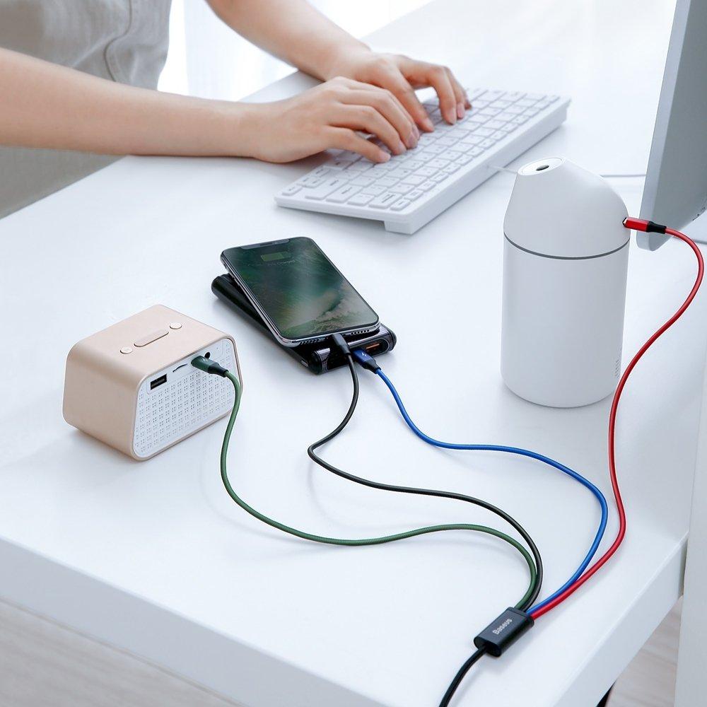 фото одного кабеля Baseus CA1T4-A01 на четыре устройства