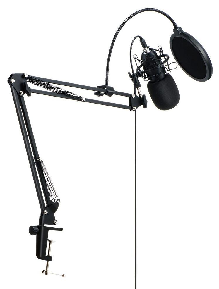 фото USB микрофона на стойке с поп-фильтром BlitzWolf BW-CM2