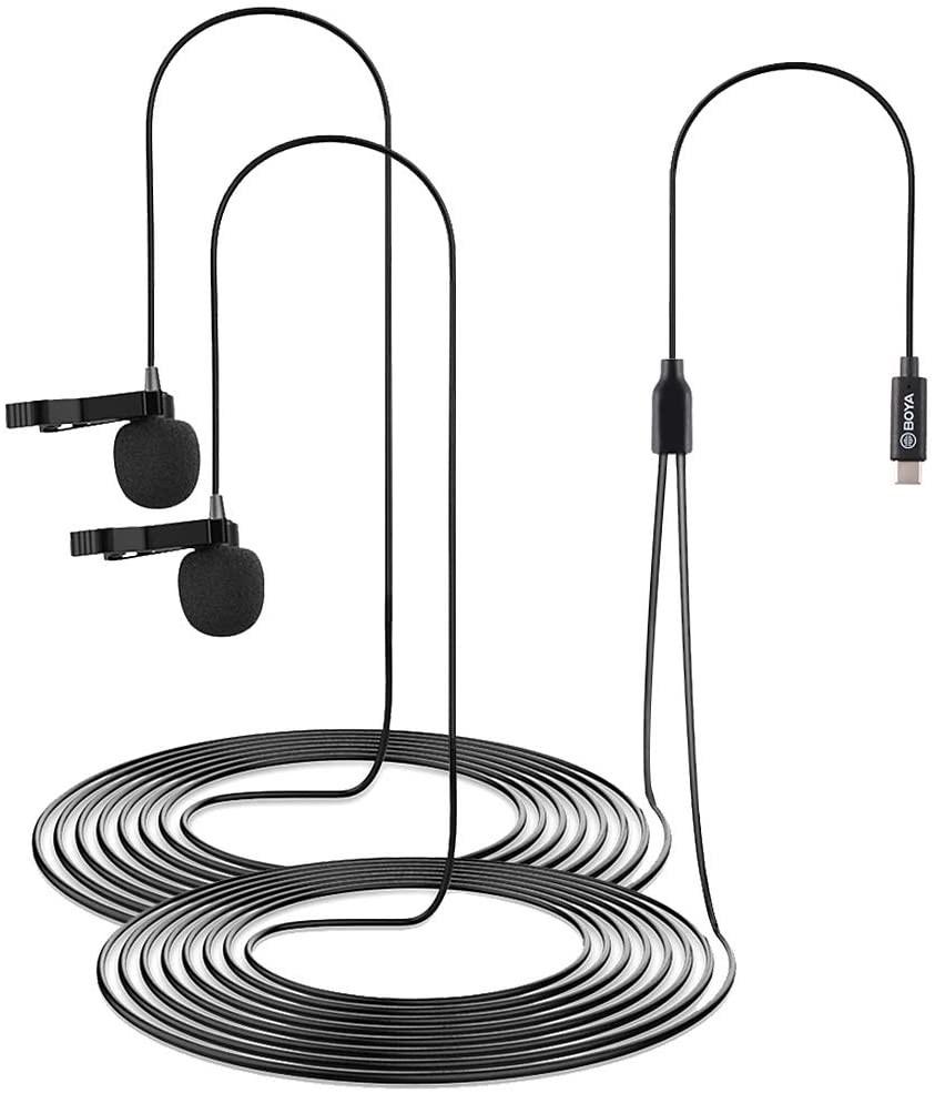 фото 6 метрового кабеля двойного петличного микрофона Type-C
