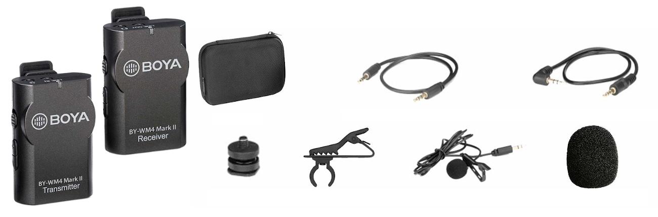 фото комплекту поставки бездротового мікрофона для телефону