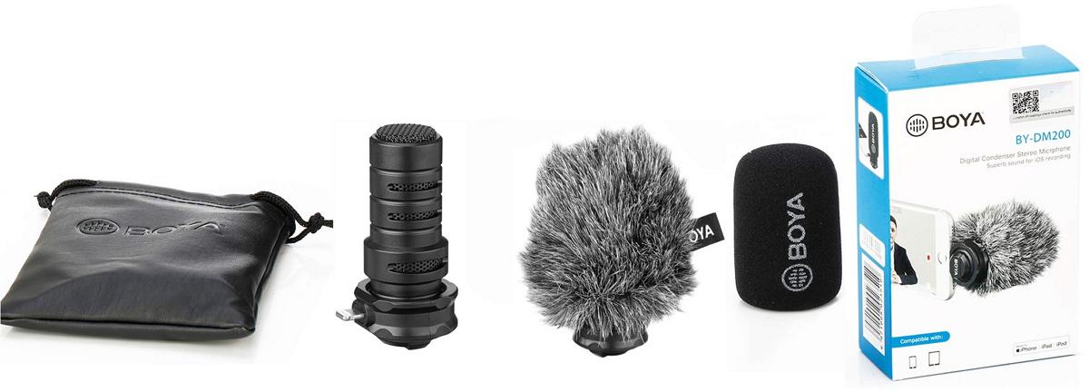 изображение комплектации микрофона для iphone Boya BY-DM200