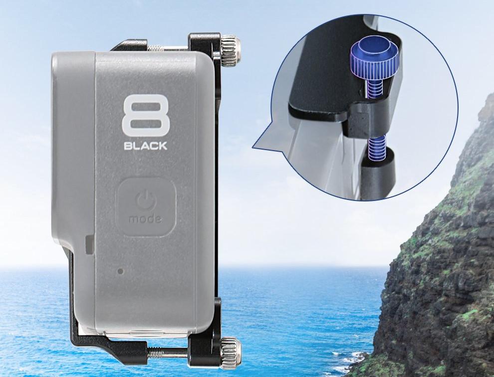 фото зажима экшн-камеры в переходнике GoPro 8 для Feiyu Tech FY-G6