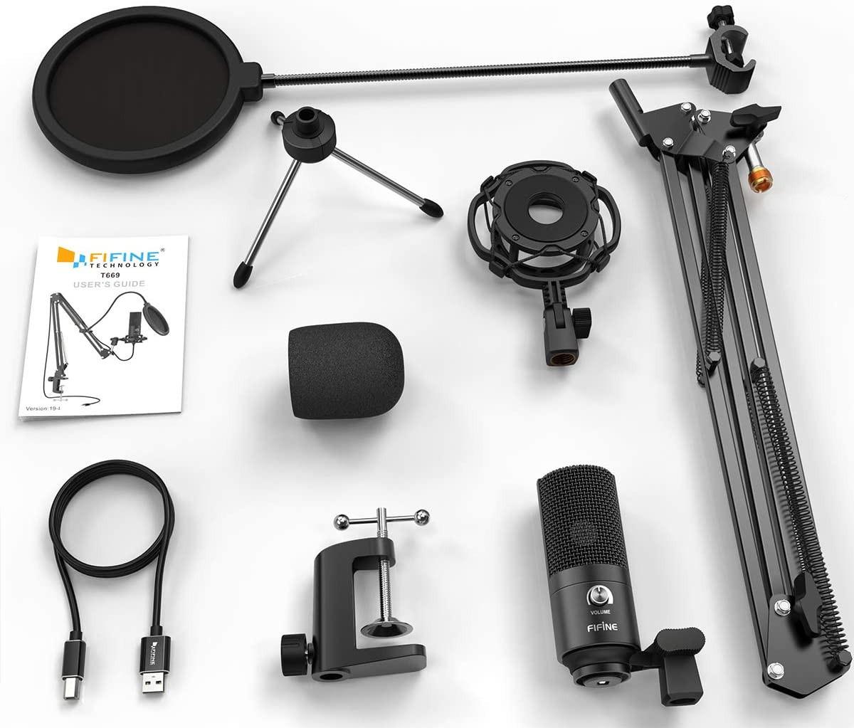 изображение комплекта поставки микрофона для стрима с поп-фильтром Fifine T669
