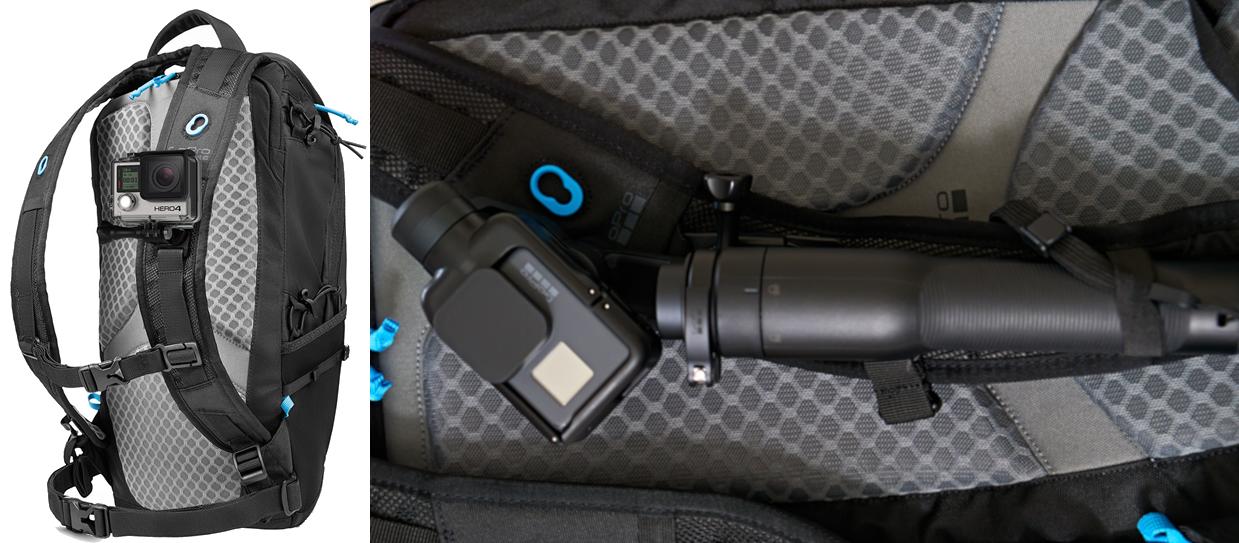 фото как установить Karma Grip на рюкзак GoPro Seeker