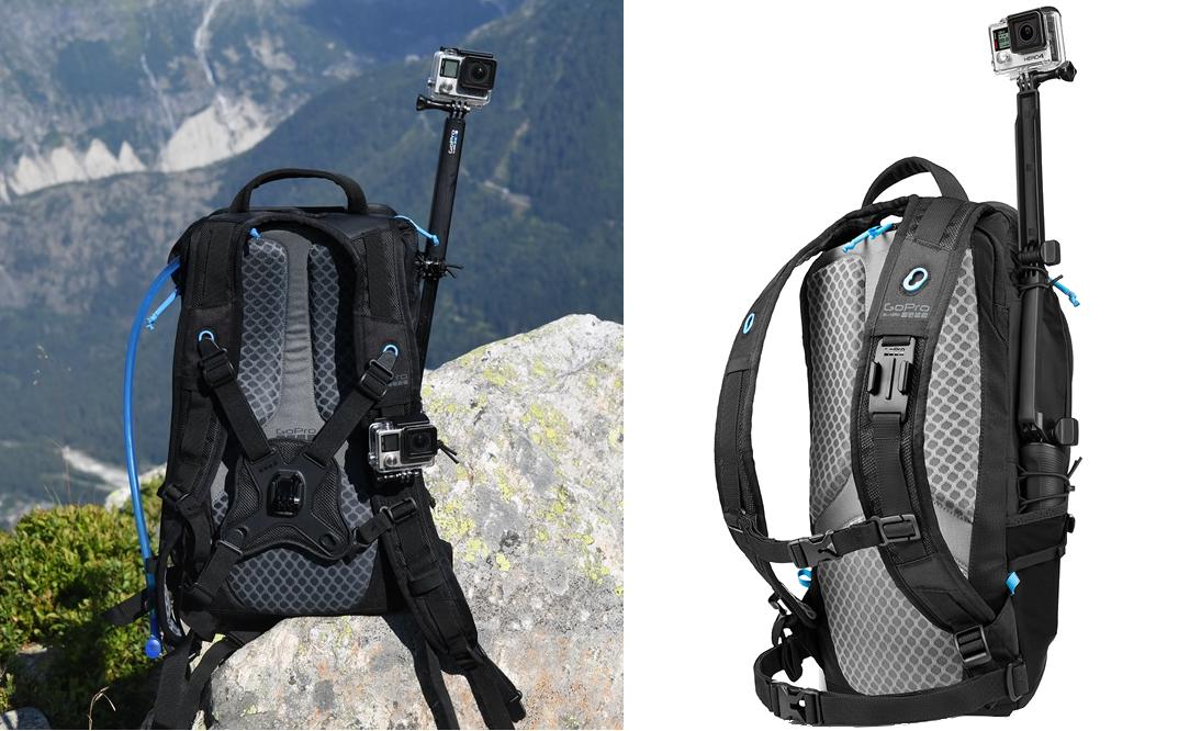 картинка как закрепить монопод к рюкзаку GoPro Seeker