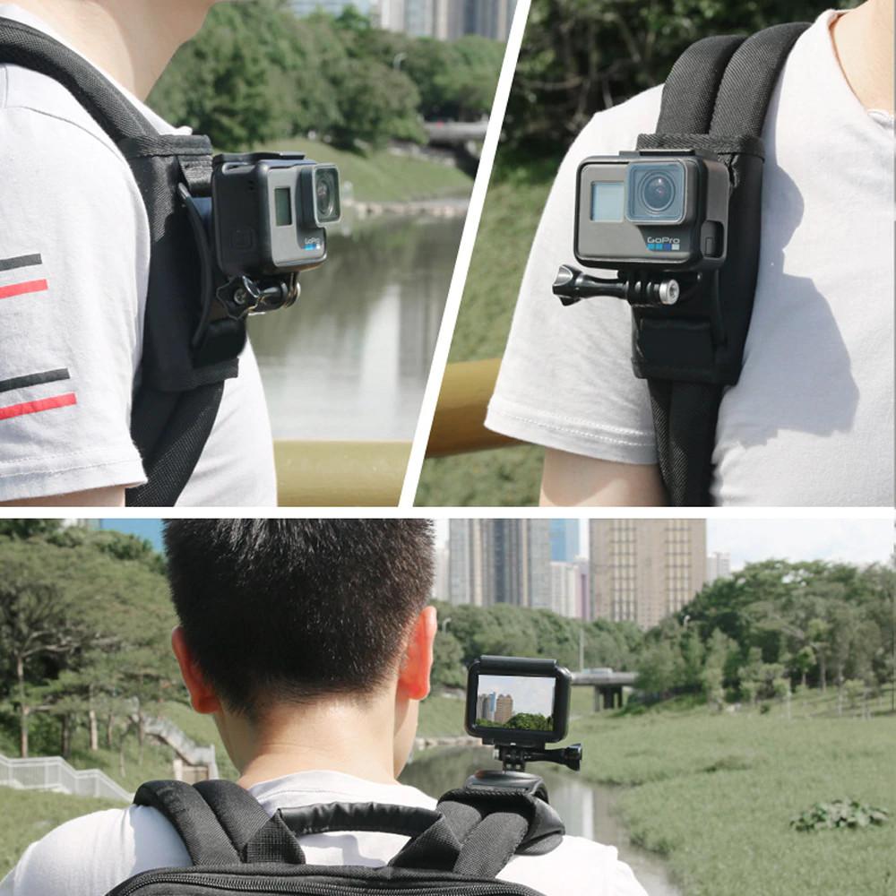 изображение крепления экшн-камеры на лямку рюкзака