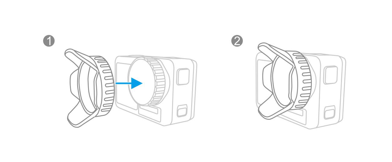 фото процесса установки PGYTECH OSMO Action Lens Hood