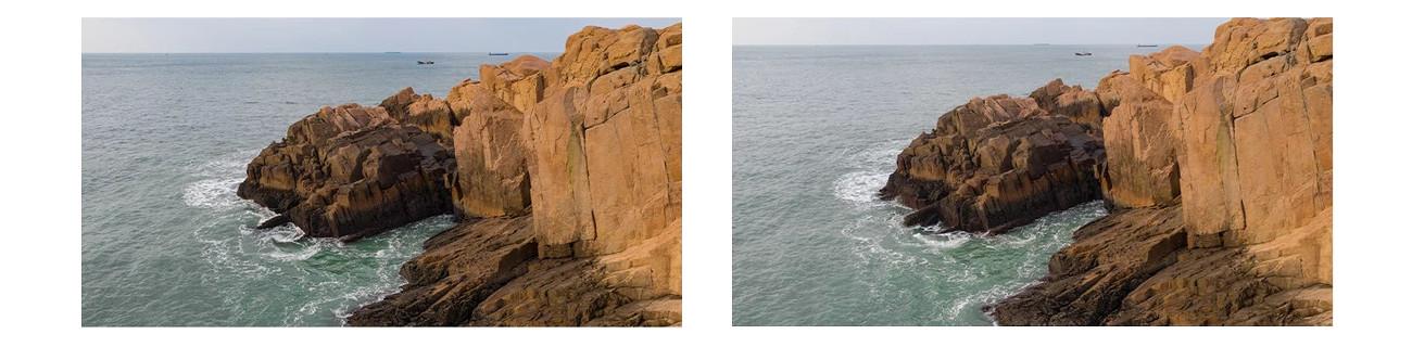 фото сравнения изображения без и с УФ-фильтром PGYTECH OSMO Action